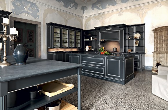 Silk-effect graphite lacquered doors with … - Image 1